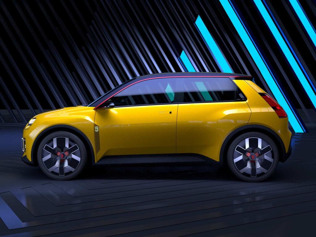 Una vista laterale della Renault 5 Prototype che già evidenzia stilemi della sua progenitrice