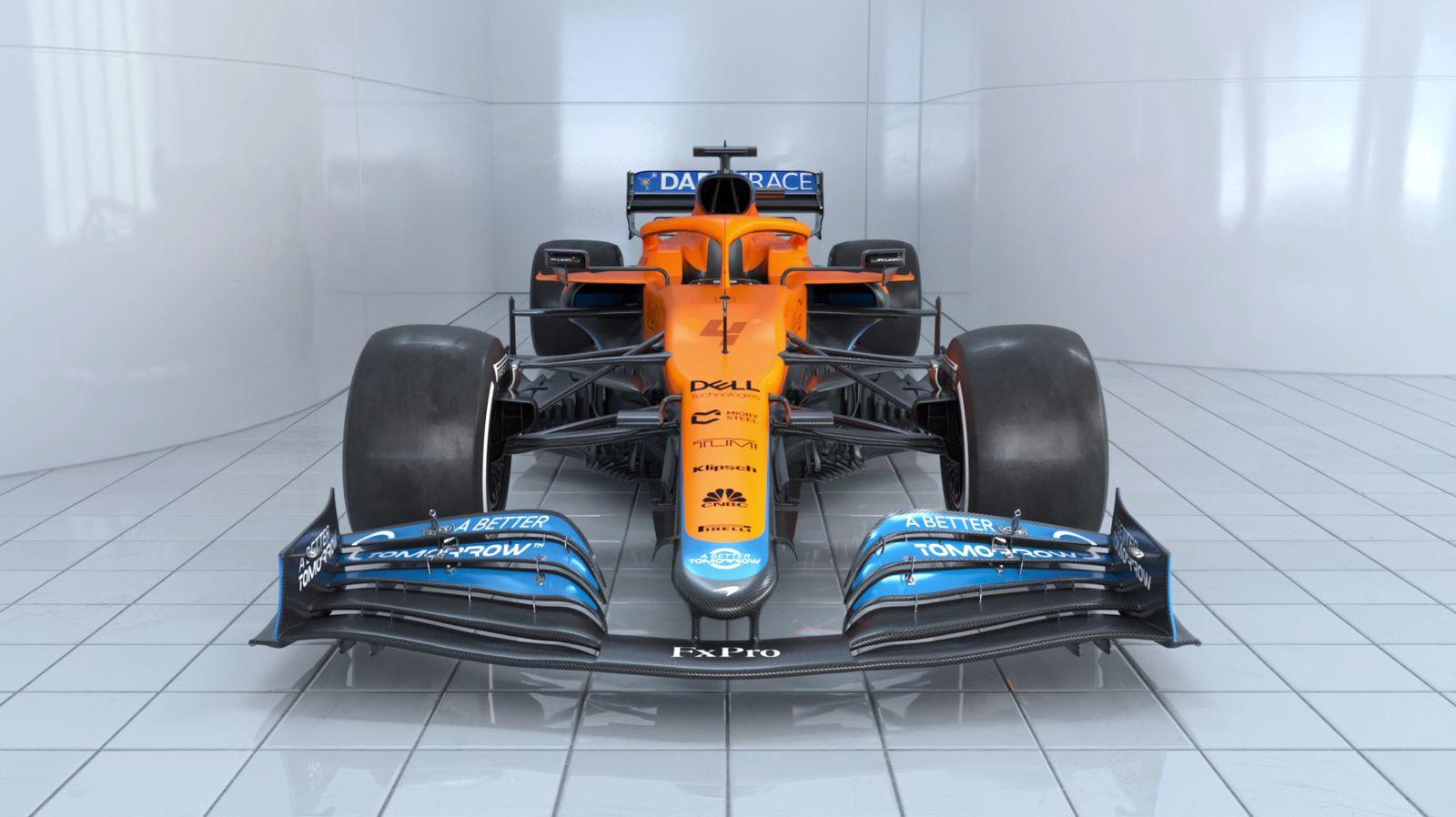 Immagine frontale della nuova McLaren MCL35M